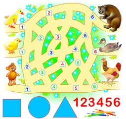Educational page for young children. Need to join successively triangles, circles and squares. Find the way from kids till their parents. Logic puzzle game. Vector cartoon image.