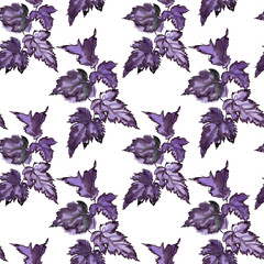 Blue and purple leaves ornament pattern
