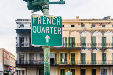 Directional Sign to French Quarter in New Orleans