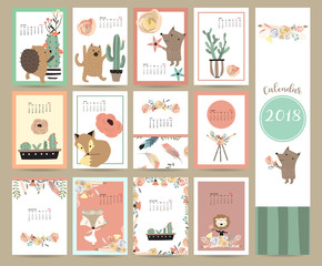 Colorful cute monthly calendar 2018 with fox,bear,cactus,wreath,flower and porcupine.Can be used for web,banner,poster,label and printable