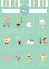 Colorful cute monthly calendar 2018 with whale,tree,monkey,fox,sheep,cat,giraffe,lion and bear.Can be used for web,banner,poster,label and printable