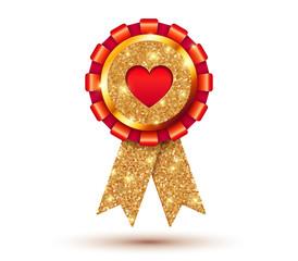 Red heart vector like golden medal template