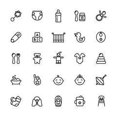 Baby care thin line icon set. Outline stroke feeding, game, bathing pictograms. Bottle, nipple, crib, booties and other baby accessories