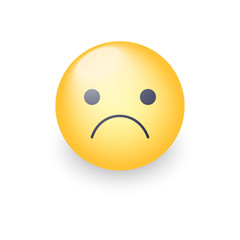 Worried cartoon emoji. Frustrated, distressed, disappointed, angry, sad emoticon mood. Unhappy smiley. Frowning Face