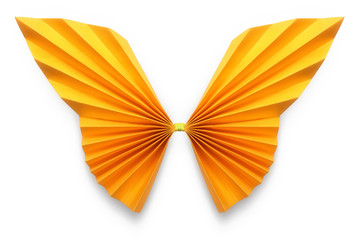 Orange butterfly of origami, Clipping Path
