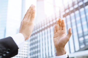Give me five your businessman hands for good business. concept Success and encouragement to overcome and overcame obstacles.