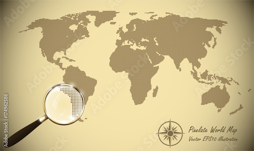 Abstract dotted map old paper halftone retro effect vector abstract dotted map old paper halftone retro effect vector illustration world map silhouette continental gumiabroncs Image collections