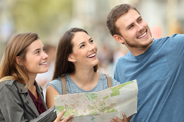 Three tourists enjoying vacations