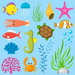 Set aquatic funny sea animals underwater creatures cartoon characters shell aquarium sealife vector illustration.