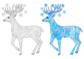 Reindeer for adult coloring book page. Hand drawn christmas deer doodle vector illustration.