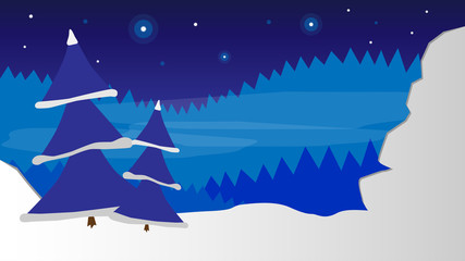 night snowy forest with stars and trees vector background