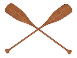double wooden paddles 3d rendering