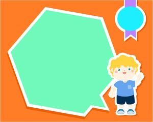 Happy little boy kid with empty speech bubble cartoon vector.