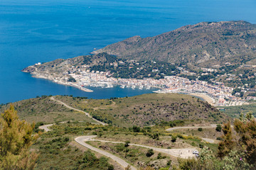 El Port de la Selva city bay from top of Serra de Rodes hill