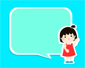 Happy kid with empty speech bubble cartoon vector illustration.