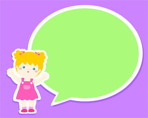 Happy kid with empty speech bubble cartoon vector illustration.