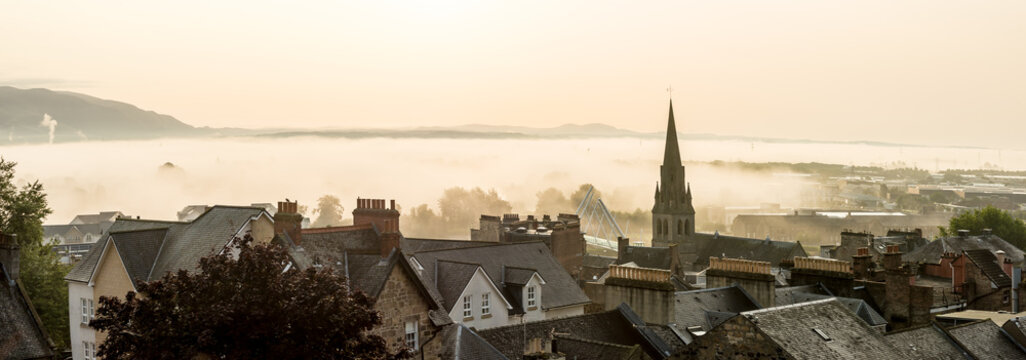 Roof tops in the morning in Stirling, Scotland