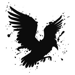 Vector isolated silhouette of a flying raven, crow. Illustration of a bird, black on white, with ink splashes