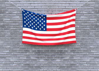 American flag hanging on brick wall. 3D illustration
