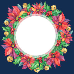 Banner, round frame with a Christmas poinsettia, holly, bell. Christmas decoration - greeting card, invitation. New Year. Watercolor hand drawn painting illustration isolated on dark blue background.