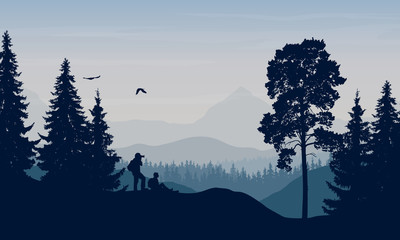 Foto op Aluminium Bleke violet Vector illustration of a mountain landscape with trees and a human being photographed under a blue-gray sky with cloud