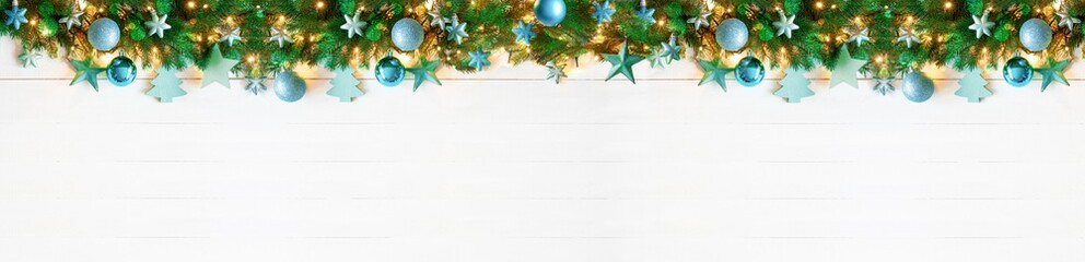 Panorama Turquoise Christmas Banner, Copy Space