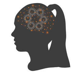 Girl silhouette with a brain gears and network