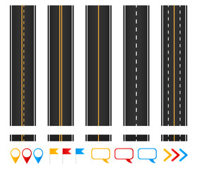 Roads. Set of seamless highways, brush templates and marking design elements.