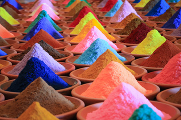 multicolored powder dyes