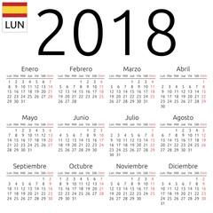 Calendar 2018, Spanish, Monday