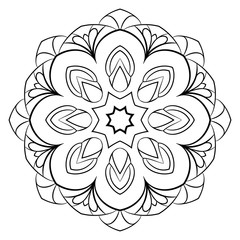 Monochrome mandala. A repeating pattern in the circle. A beautiful image for scrapbook. Picture for relaxation. Medieval motif.