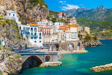Foto auf AluDibond Neapel Morning view of Amalfi cityscape on coast line of mediterranean sea, Italy