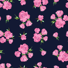 Seamless pattern on dark blue background. Rose flowers.
