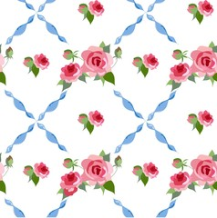 Floral background. Seamless vector rose peony pattern.