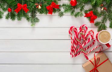 Joyful christmas background, top view