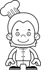Cartoon Smiling Chef Orangutan