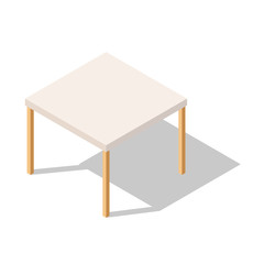 White Table in Isometric View, Vector Table Square with Shadow.Vector Illustration Isolated with shadow from Background. Table for Home and Office. Platform. Stand
