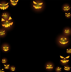 Halloween scary faces in the darkness vector illustration