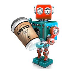 Coffee break. Cup of coffee in hand of retro robot. 3D illustration. Isolated. Contains clipping path