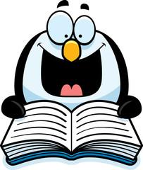 Cartoon Penguin Reading