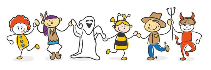 Strichfiguren Kinder bunt Karneval Halloween Verkleidung