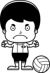 Cartoon Angry Volleyball Player Boy