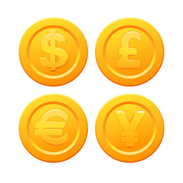 Set of stylized golden coin with currency symbols: dollar, euro, pound and yen signs. Stock vector illustration