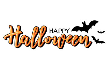 Halloween vector lettering. Holiday calligraphy with bats.