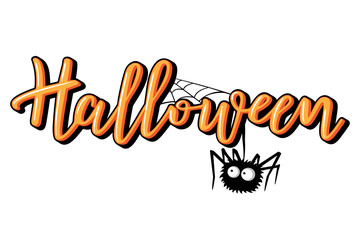 Halloween vector lettering. Holiday calligraphy with spider.