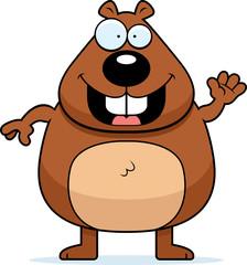 Cartoon Beaver Waving