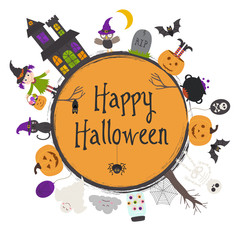 Happy Halloween frame - vector illustration, eps