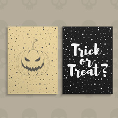 Happy Halloween. Halloween hand drawn invitation or greeting Cards. Vector illustration