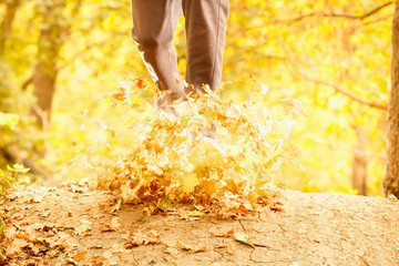 Athlete makes a morning run through the autumn forest. Foliage on a park treadmill and athlete's feet.