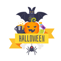 Halloween greeting card template